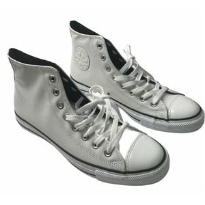Converse White Patent High-Top Shoes Mens Size 9.5